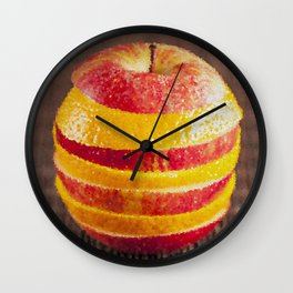 Apple and orange mixed painting Wall Clock