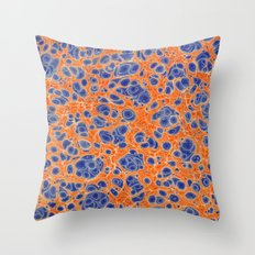 Marbled Blobs Blue and Orange Throw Pillow