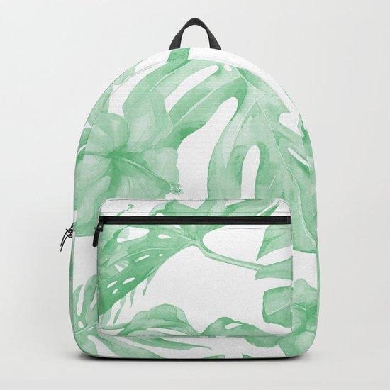 Tropical Island Republic Green and White Backpack