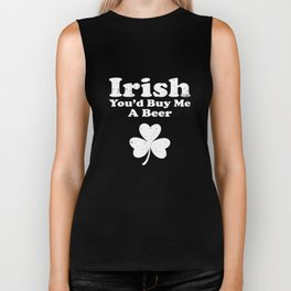 Irish You'd Buy Me A Beer Clover St Patricks Day Biker Tank