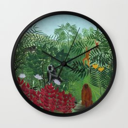 """Henri Rousseau """"Tropical Forest with Monkeys (A Tropical Forest with Apes and Snake)"""" Wall Clock"""