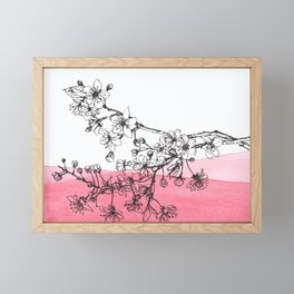 cherry blossom watercolor pen illustration Framed Mini Art Print