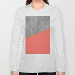 Living Coral on Concrete Geometrical Long Sleeve T-shirt