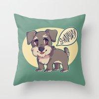 schnauzer Throw Pillows featuring Schnauzer! by Cargorabbit