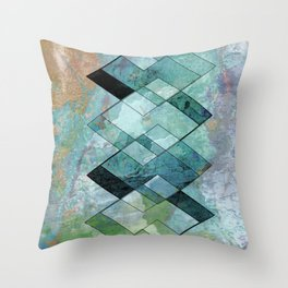 architectural blue tiled Throw Pillow