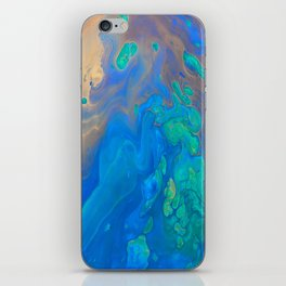 Slow Down Blue II - Bright Blue Green Fluid Painting iPhone Skin