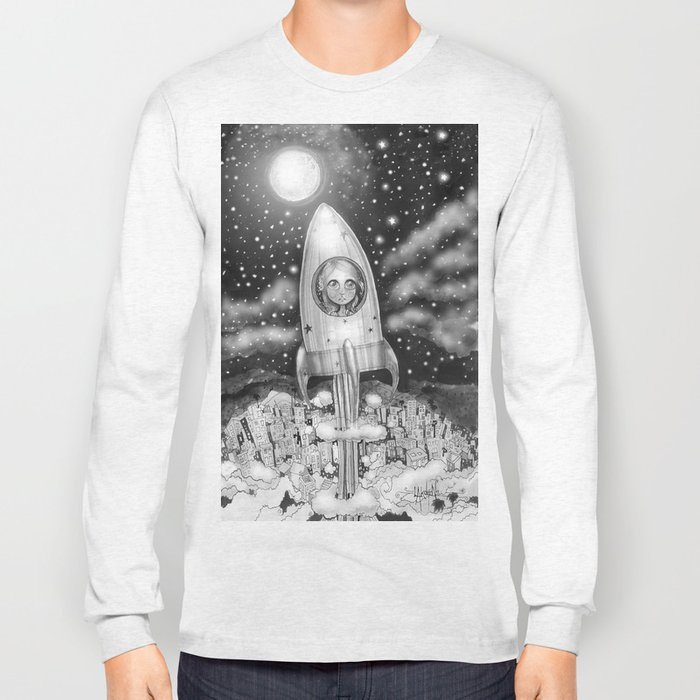 Running Away From Home In A Rocket Ship Long Sleeve T-shirt