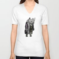 suits V-neck T-shirts featuring Animals in Suits - Black Rhino by Katadd