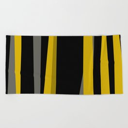 yellow gray and black Beach Towel