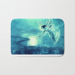 Spirit of the Night by John Atkinson Grimshaw Turquoise Blue Bath Mat
