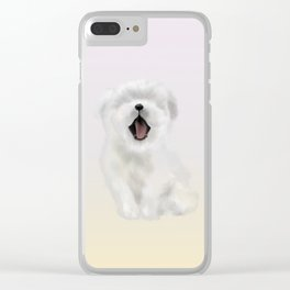 puppy yawning Clear iPhone Case