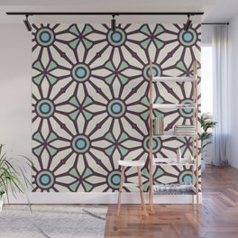 Bold and Kitschy Mid Century Pattern in White and Aqua Wall Mural