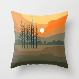 Stunning sunset behind trees in orange bright colors Throw Pillow