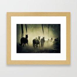 Herd of Horses Running Down a Dusty Path Framed Art Print