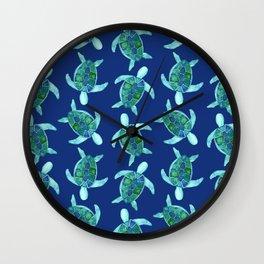 Save the Sea Turtles |Watercolor Blue Green| Renee Davis Wall Clock