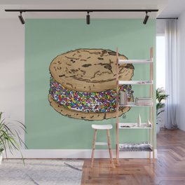 THERE'S ALWAYS TIME FOR AN ICE CREAM SANDWICH WITH CHOCOLATE CHIPS AND FUNFETTIS! - MINT Wall Mural