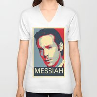 battlestar galactica V-neck T-shirts featuring Baltar 'Messiah' design. Inspired by Battlestar Galactica. by hypergeek