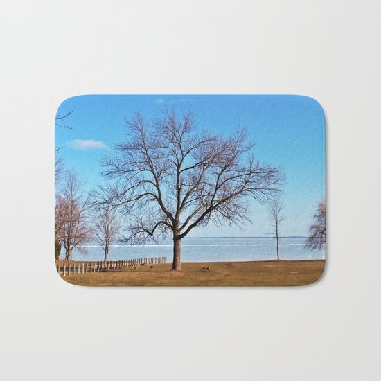 The Tree by the Frozen Lake Bath Mat