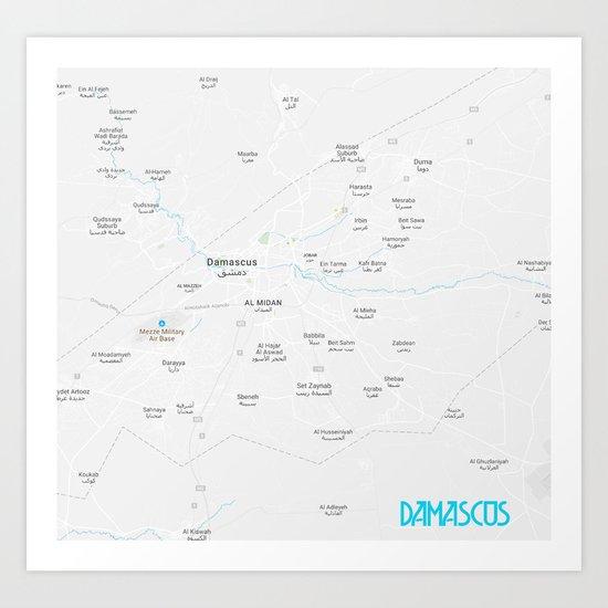 Minimalist Modern Map of Damascus, Syria 1A Art Print on baghdad map, amman jordan map, tel aviv, arabian sea map, golan heights map, bashar al-assad, rome italy map, damascus citadel, tunis tunisia map, pakistan map, world map, beirut lebanon map, ancient damascus map, asma al-assad, tripoli lebanon map, mid east map, middle east map, jerusalem map, damascus oregon map, kabul afghanistan map, istanbul map, algiers algeria map, bahrain map, damascus steel,