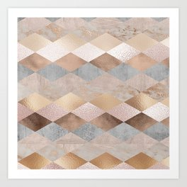 Copper and Blush Rose Gold Marble Argyle Art Print