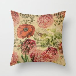 Vintage bohemian floral bird cage collage Throw Pillow