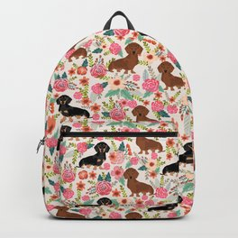 Dachshund florals pattern cute dog gifts by pet friendly dog breeds Backpack