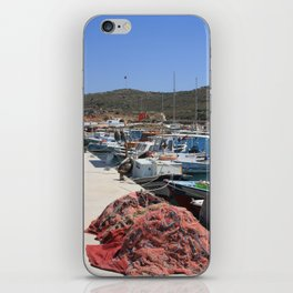 Red Fishing Net and Fishing Boats in Datca iPhone Skin