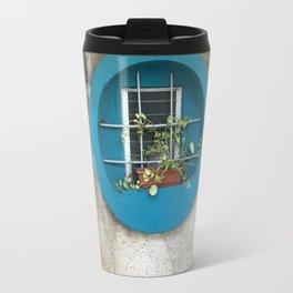 Tel Aviv - blue window on a grey wall Travel Mug