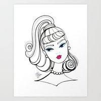 Vintage Fashion Doll Sketch Art Print