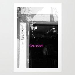 Cali Love Neon Sign in Darkened Bar Hot Pink Selective Coloring Art Print