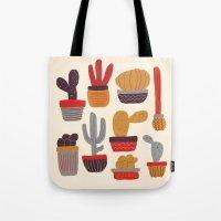 alisa burke Tote Bags featuring Kaktus by Annisa Tiara Utami