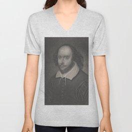 Vintage Portrait of William Shakespeare (1800s) Unisex V-Neck