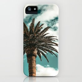 Lush Palm {1 of 2} / Teal Blue Sky Tree Leaves Art Print iPhone Case