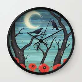 crows, fireflies, and poppies in the moonlight Wall Clock