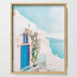 Santorini Greece Blue Door Cozy Photography Serving Tray