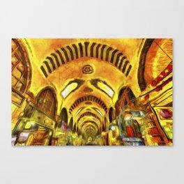 Spice Bazaar Istanbul Van gogh Canvas Print