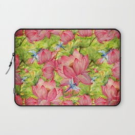 Floral Lotus Flowers Pattern with Dragonfly Laptop Sleeve