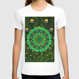 green peacock mandala T-shirt