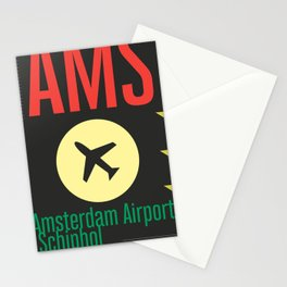 AMS Amsterdam Schiphol Airport sticker ff Stationery Cards