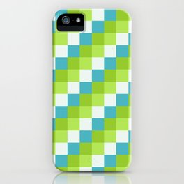 Apples and Pears - Pixelated Pattern with blues and green  iPhone Case