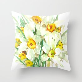 Daffodil Flowers, White spring flowers, Green yellow spring colored design Throw Pillow