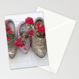 Dutch wooden shoes and geraniums from Marken, Holland Stationery Cards