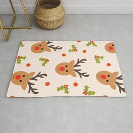 Christmas Reindeer, Holly and Ornaments Rug