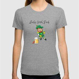 Lucky Irish Puck - Funny and Unique Irish Hockey St. Patrick's Day Design T-shirt