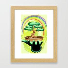 Bonsai Tree and Rainbow on Green Hand - Protecting Nature Framed Art Print