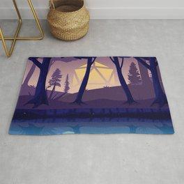 Blue Hour Sunset Forest D20 Dice Sun Tabletop RPG Landscape Rug