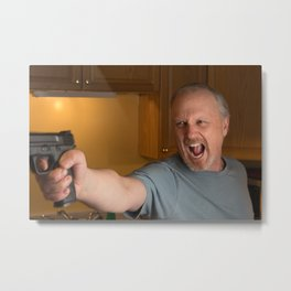 Angry Man with handgun in kitchen Metal Print