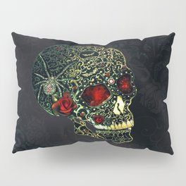 Jeweled Spider Skull Pillow Sham