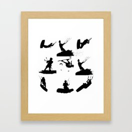 Wakeboarder Silhouette Collage Framed Art Print