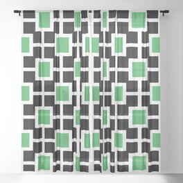 Classic Hollywood Regency Pattern 221 Black and Green Sheer Curtain